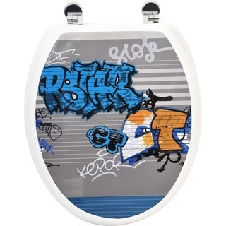 Evideco Toilet Seat Wood Design Graffiti with Zinc Hinges