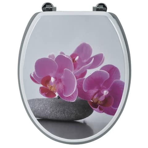 Evideco Toilet Seat Wood Design Lily Orchid with Zinc Hinges - Pink - 14.75 L x 2 W x 16.73 H