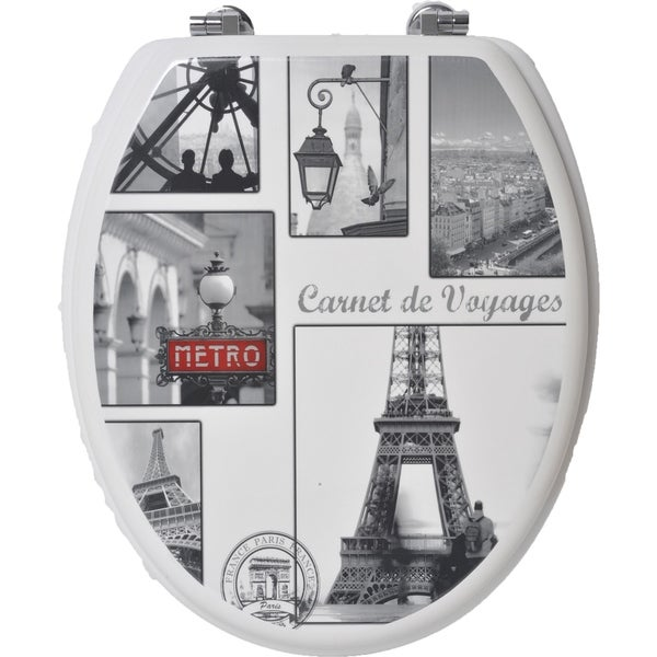 Evideco Toilet Seat Wood Design Vintage Paris Zinc Hinges