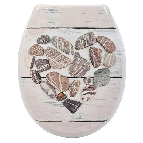 Evideco Duroplast Oval Toilet Seat Design Nature - Beige - 14.60 L x 2 W x 17 H
