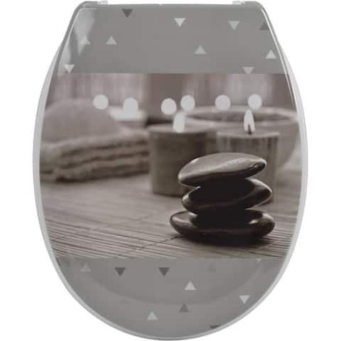 Evideco Duroplast Oval Toilet Seat Design Zen Garden - Gray - 14.60 L x 2 W x 17 H