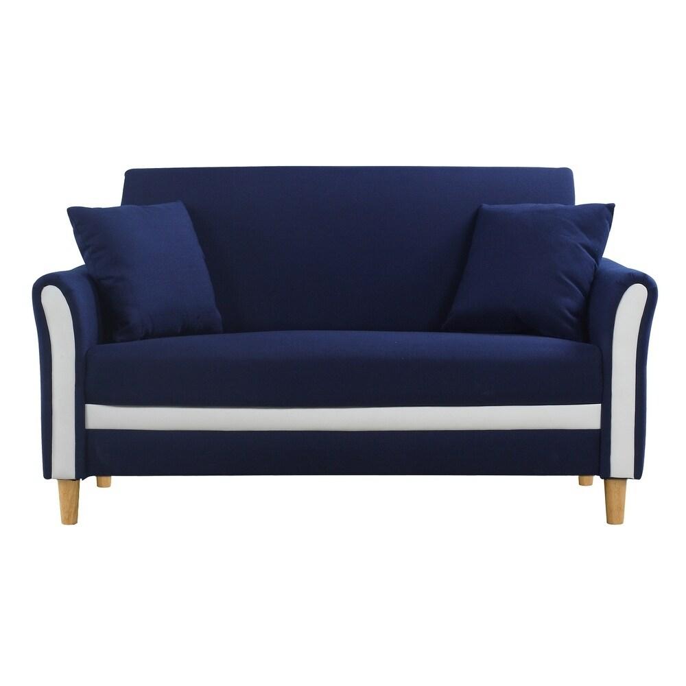 Modern Two Tone Loveseat Sofa/Two Seater Linen Upholstered