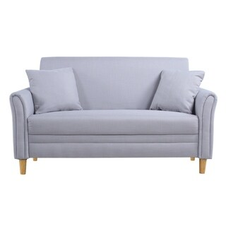 Linen/Wood Two-tone Small Two-seater Loveseat