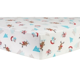 Trend Lab Winter Wishes Cotton Flannel Deluxe Fitted Crib