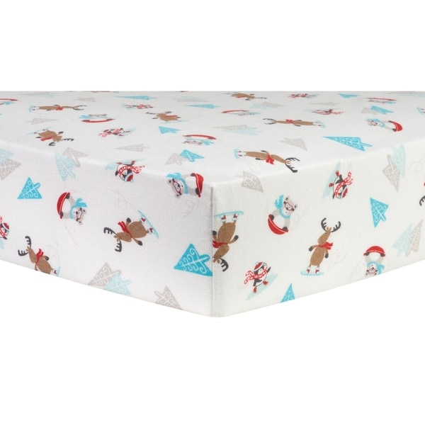 Shop Trend Lab Frosty Fun Deluxe Flannel Fitted Crib Sheet
