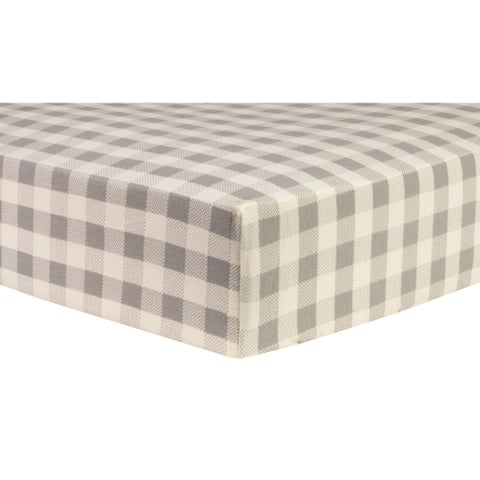 Trend Lab Gray and Cream Buffalo Check Deluxe Flannel Fitted Crib Sheet