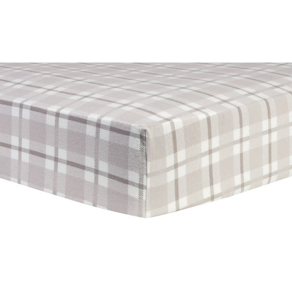 Trend Lab Gray and White Plaid Deluxe Flannel Fitted Crib Sheet. Opens flyout.
