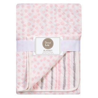 Trend Lab Pink and Gray Cloud Knit Blanket
