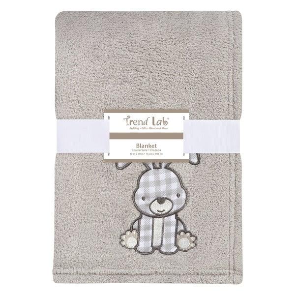 Trend Lab Gray Bunny Plush Baby Blanket