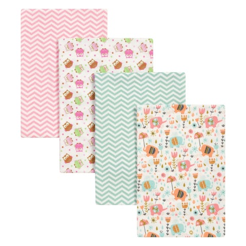 Trend Lab Elephants and Owls 4 Pack Flannel Blankets