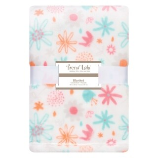 Trend Lab Coral Floral Plush Baby Blanket