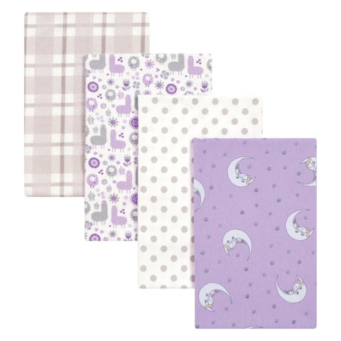 Trend Lab Llamas and Unicorns 4 Pack Flannel Blankets