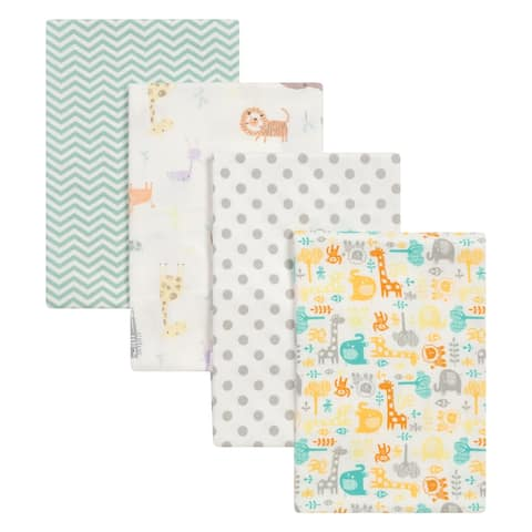 Trend Lab Mint Jungle 4 Pack Flannel Blankets