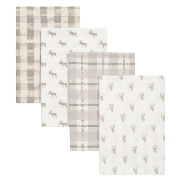 Trend Lab Stag and Moose 4 Pack Flannel Blankets