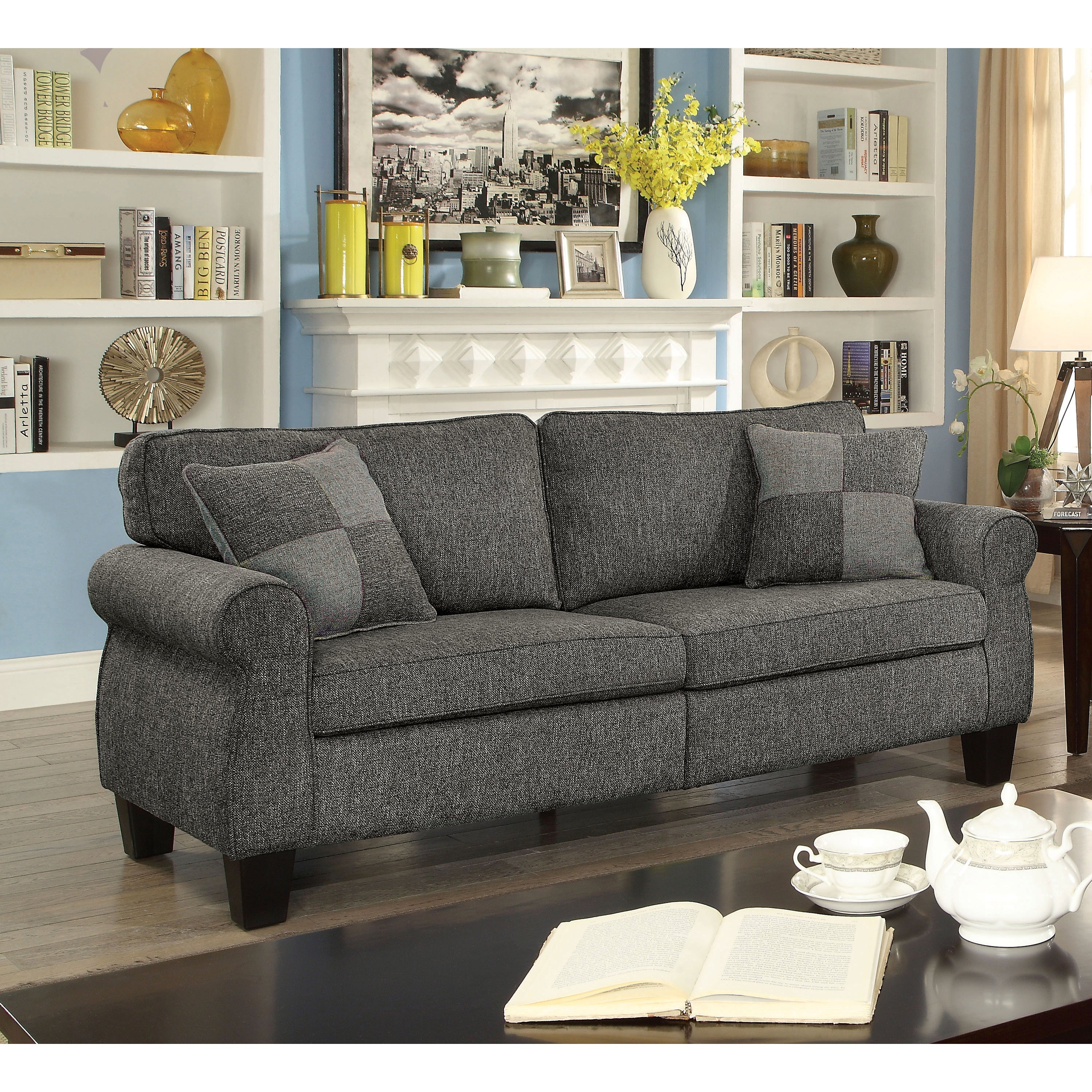 Furniture Of America Herena Transitional Linen Like Sofa (2 Options  Available)