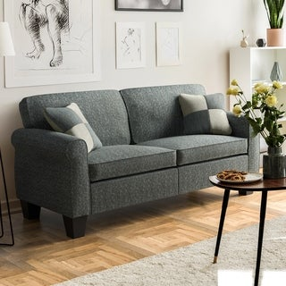 Furniture of America Nele Transitional Linen Fabric Padded Sofa