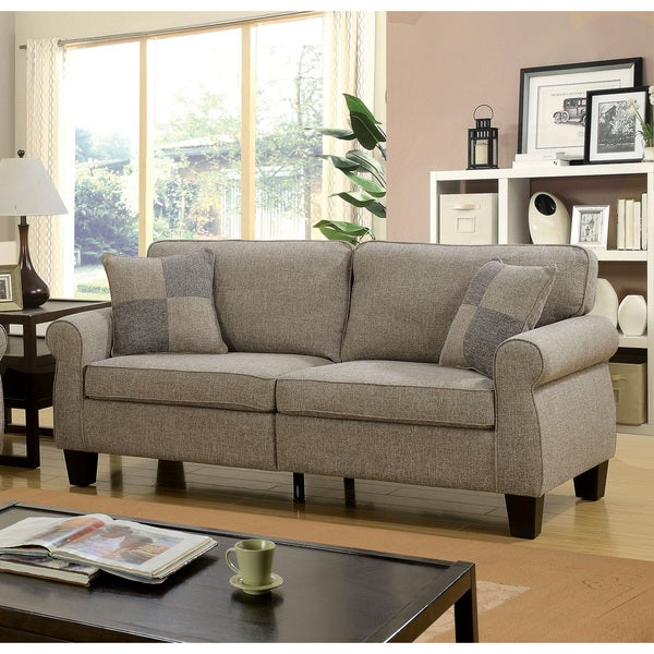 Shop Furniture Of America Herena Transitional Linen Like Sofa On
