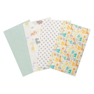 Trend Lab Mint Jungle 4 Pack Flannel Burp Cloth Set