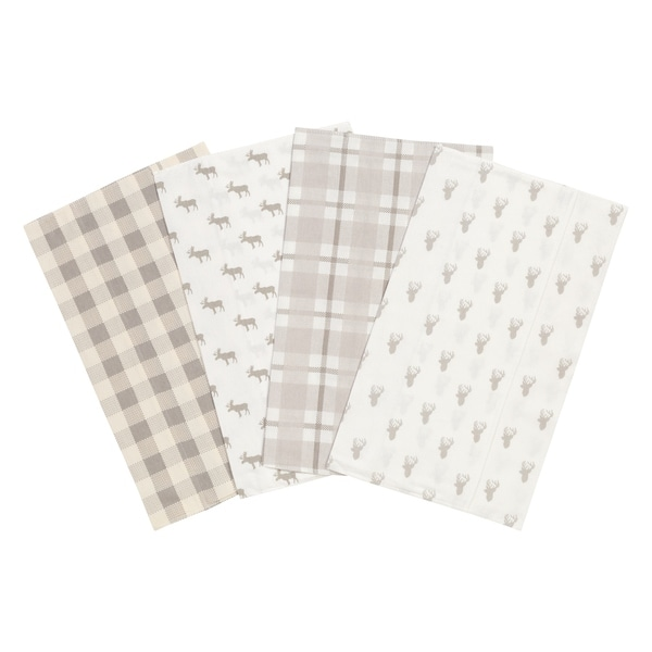 Trend Lab Stag and Moose 4 Pack Flannel Burp Cloth Set