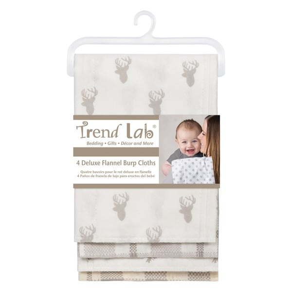 Unicorns /& Flowers, Pack of 4 Trend Lab Flannel Burp Cloth Set