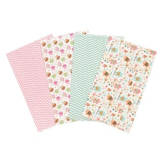 Trend Lab Elephants and Owls 4 Pack Flannel Burp Cloth Set