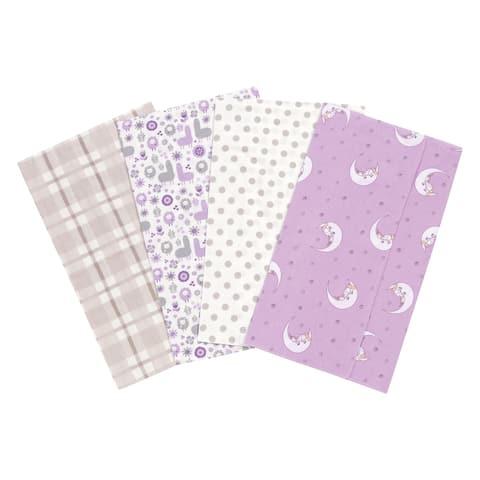 Trend Lab Llamas and Unicorns 4 Pack Flannel Burp Cloth Set