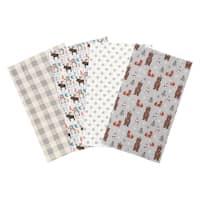 Trend Lab Scandi Cocoa 4 Pack Flannel Burp Cloth Set