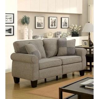 Furniture of America Nele Contemporary Linen Fabric Padded Loveseat