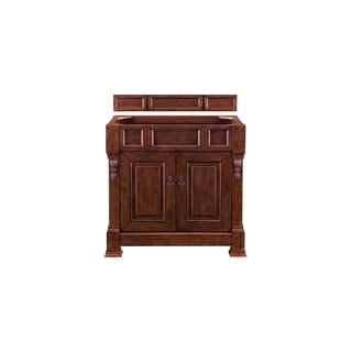 "Brookfield 36"" Warm Cherry Single Vanity with 3 CM Arctic Fall Solid Surface Top"