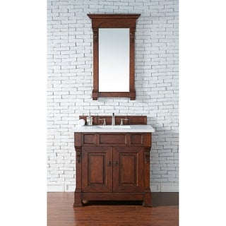 "Brookfield 36"" Warm Cherry Single Vanity with 2 CM Absolute Black Rustic Granite Top"