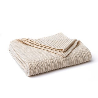 Vellux Chunky Knit Ivory/Gold Throw