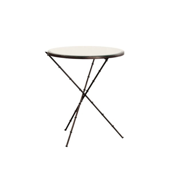 Caius Iron End Table with Mirrored Top