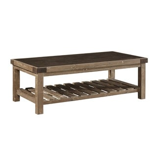 Anatolios Wood Coffee Table with Bluestone Top