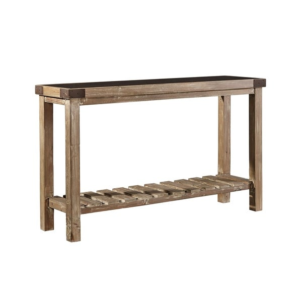 Common Home Anatolios Fir Wood Console with Bluestone Top