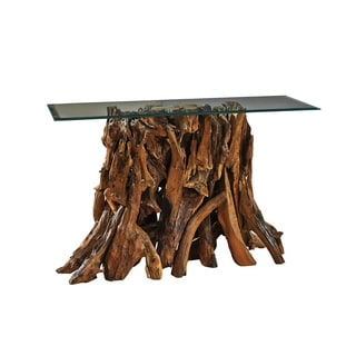 Common Home Roche Natural Teak/Glass Top Console Table