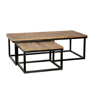 Gaia Brown Wood and Metal 2-piece Nesting Coffee Table Set