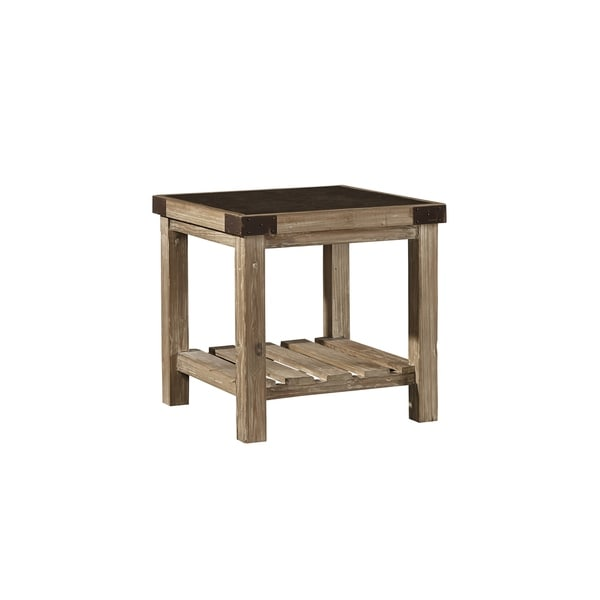 Anatolios Wood Side Table with Bluestone Top