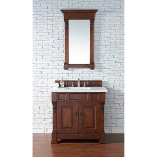 James Martin Furniture Brookfield Warm Cherry Wood Marble-top 36-inch Single Vanity