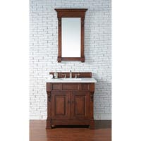 "Brookfield 36"" Warm Cherry Single Vanity with 2 CM Galala Beige Marble Top"