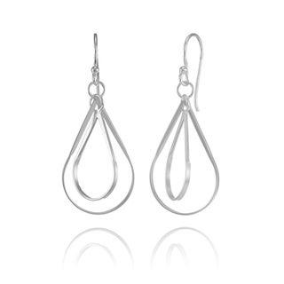 Mondevio Sterling Silver Double Teardrop Lightweight Dangle Drop Earrings
