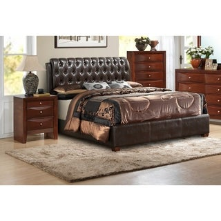 LYKE Home Stella Queen Tufted Upholstered Bed