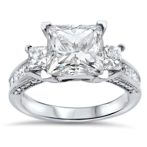 14k White Gold 2ct Moissanite 1ct TDW Diamond 3-Stone Engagement Ring. Opens flyout.