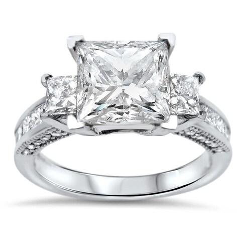 3ct Noori Princess Cut Moissanite 3 Stone Diamond Engagement Ring 14k White Gold