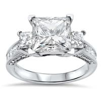 3ct Noori Princess Cut Moissanite 3 Stone Diamond Engagement Ring 14k White Gold