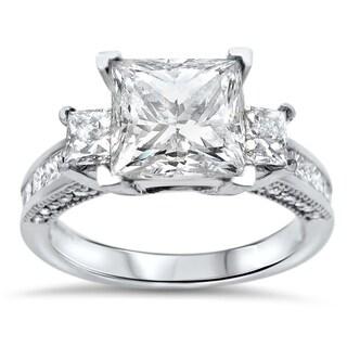 3ct Noori Princess Cut Moissanite 3 Stone Diamond Engagement Ring 14k White Gold (More options available)