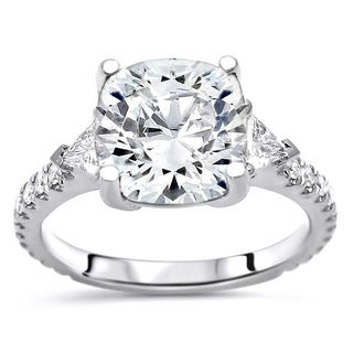 Noori 2 1/2ct Cushion Cut Moissanite Trillion 3 Stone Diamond Engagement Ring 14k White Gold