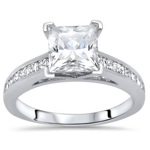 2 ct Princess Cut Moissanite Center 1/2ct Diamond Surrounding Engagement Ring 14k White Gold