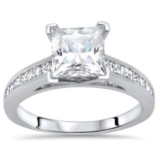 Noori 2 ct Princess Cut Moissanite Center 1/2ct Diamond Surrounding Engagement Ring 14k White Gold