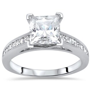 Noori 2 ct Princess Cut Moissanite Center 1/2ct Diamond Surrounding Engagement Ring 14k White Gold
