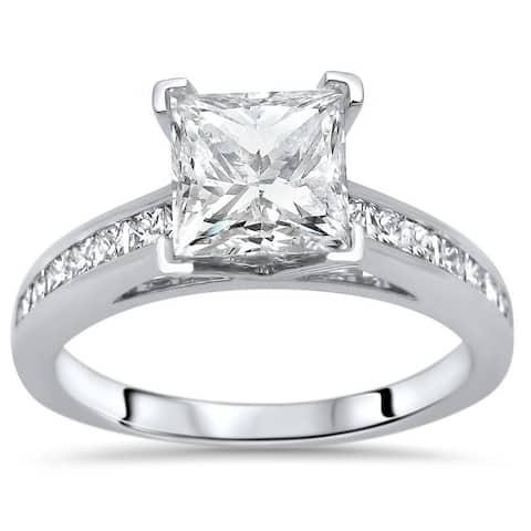 1 1/4ct Princess Cut Moissanite Center 1/2ct Diamond Surrounding Engagement Ring 14k White Gold